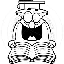 clipart owl black and white cartoon little owl reading black and white line art by cory