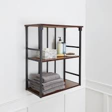 Glass Shelving For Bathrooms Mixed Material Bathroom Collection 3 Tier Wall Shelf Free