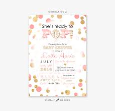 ready to pop baby shower invitation printed coral pink gold