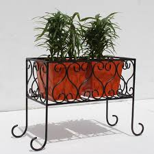 Square Metal Planter by Designed Iron Stand With Square Metal Planter
