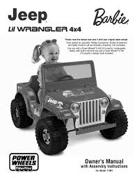 barbie power wheels fisher price jeep lil wrangler 4x4 barbie t1961 user manual 21 pages