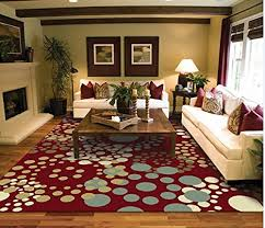 2x3 Kitchen Rug Luxury Modern Rugs Circles Cream Red Blue Beige Contemporary Rugs