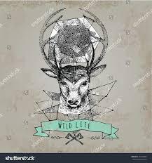 deer head horns face log template stock vector 274754084