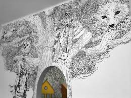 black and white forest mural kids rooms pinterest forest whimsical tree wall mural how delightful