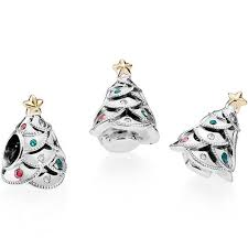 pandora silver 14ct gold festive tree charm 791999czrmx the
