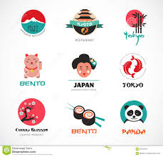 japanese food and sushi icons menu design stock vector image