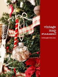 vintage map ornament live laugh rowe
