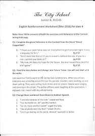 the city worksheet for class 4 science s s t english