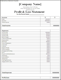 Excel Profit And Loss Template Excel Business Statement Template Business