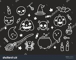 halloween cartoon background halloween hand drawn doodle set cute stock vector 316698446