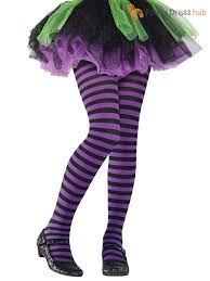 girls stripey striped tights halloween witch alice fancy dress