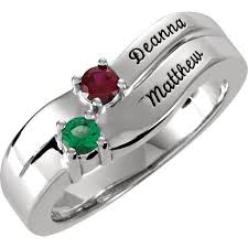 mothers day birthstone rings gold 1 to 4 stones names engravable ring