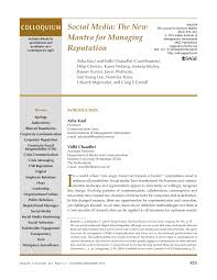 social media the new mantra for managing reputation pdf download