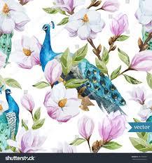 Magnolia Wallpaper by Watercolor Magnolia Flower Peacock Pattern Wallpaper Stock Vector