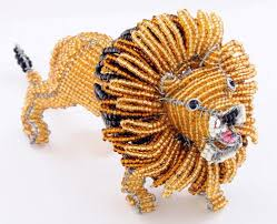 lion figurine wow imports beaded wire animal figurine lion figurine beaded