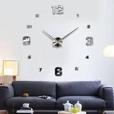 living room wall clock fashion 3d big size wall clock mirror sticker diy brief living