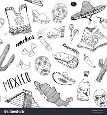 mexico seamless pattern doodle elements hand stock vector