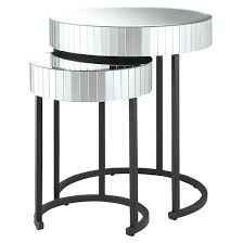 Star Table 2 Piece Krystal Round Mirror Nesting Tables With Metal Legs