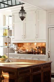 copper backsplash with stainless steel accent design ideas with