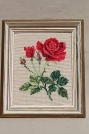 vintage crewel wool needlepoint picture pink rosebuds