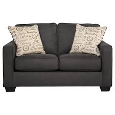 gray canvas fabric love seat with acryilic legs and