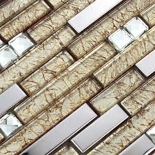 Silver Stainless Steel Wall Tiles Clear Crystal Diamond Glass Mosaics - Glass and metal tile backsplash