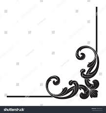 vintage baroque corner scroll ornament engraving stock vector