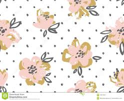Gold Flowers Seamless Pattern With Pink And Gold Flowers On The Polka Dot