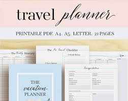 trip planner templates travel planner etsy