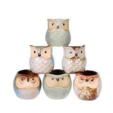6 pcs mini small ceramic owl succulent plant pot flower planter