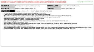 Stocker Job Description For Resume by Stock Clerk Self Service Store Resume Sample