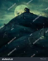 halloween design background spooky graveyard stock