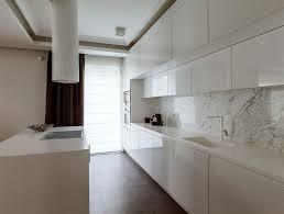 Modern Kitchen Marble Backsplash With Kitchen With Glass And - White marble backsplash