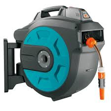 best wall mounted hose reel the automatic retracting hose reel hammacher schlemmer