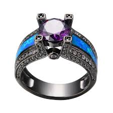 Amethyst Wedding Rings by Amazon Com Rongxing Jewelry Purple Amethyst Black Gold Filled