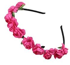 baby hair band fuchsia roses flower wreath bow kids hairband hairband baby