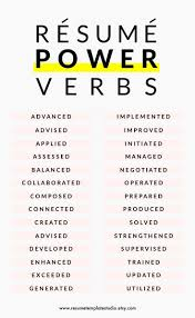 Job Resume Verbs by Verbs For A Resume Free Resume Example And Writing Download