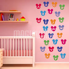 Alphabet Wall Decals For Nursery Wall Stickers Colorful Alphabet Mickey Mouse Nursery Wall