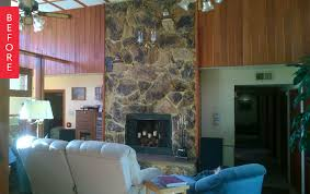 decoration inspiring stone fireplace with paint wood paneling and
