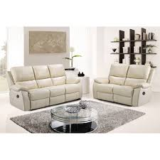 Stylish Recliner Cameo Ivory Cream Leather Power Electric Recliner Sofa Collection