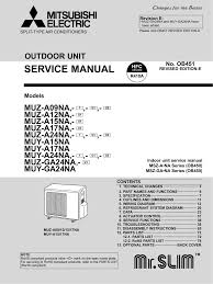 mitsubishi electric mr slim mitsubishi mr slim msz a12na service manual