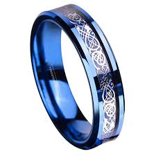 celtic wedding knot ceremony 6mm unisex or women s tungsten wedding band blue and silver