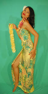 hawaiian style mid length wedding dresses