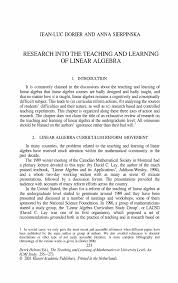 research into the teaching and learning of linear algebra springer