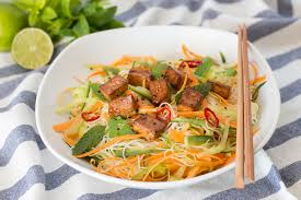 vietnamese cold noodle salad with tofu lazy cat kitchen