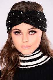 knit headband pearl drop knit headband black