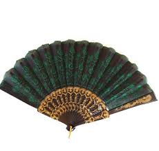 folding fans bulk 9 green folding peacock feather fan for
