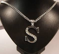 s necklace initial letter silver s necklace costume jewellery aladins