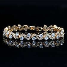 white crystal bracelet images Cwwzircons design trendy gold color white cubic zirconia stone and jpg