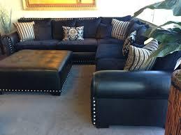 Navy Blue Leather Ottoman Modern Blue Fabric Sectional Sofa Lucas For Navy Decor 16